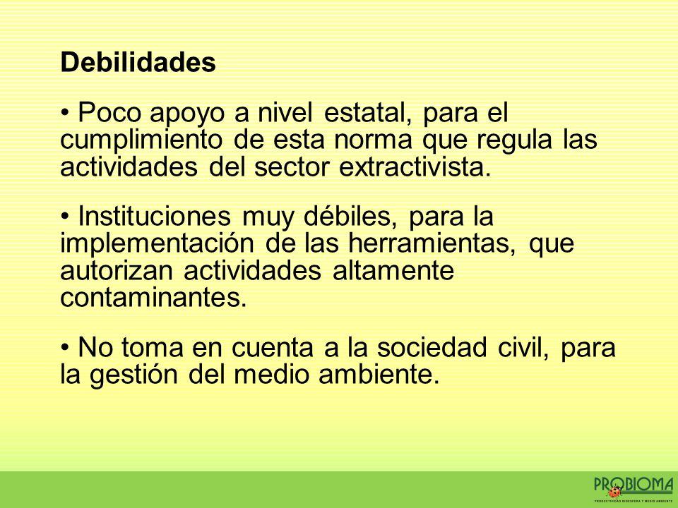 Debilidades Poco apoyo a nivel estatal, para el cumplimiento de esta norma que regula las actividades del sector extractivista. Instituciones muy débi