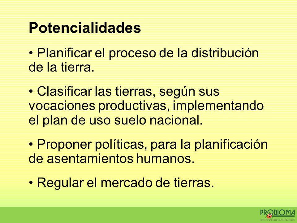 Potencialidades Planificar el proceso de la distribución de la tierra. Clasificar las tierras, según sus vocaciones productivas, implementando el plan