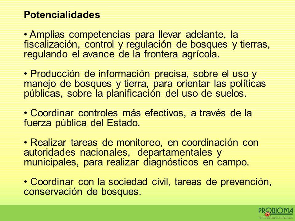 Potencialidades Amplias competencias para llevar adelante, la fiscalización, control y regulación de bosques y tierras, regulando el avance de la fron