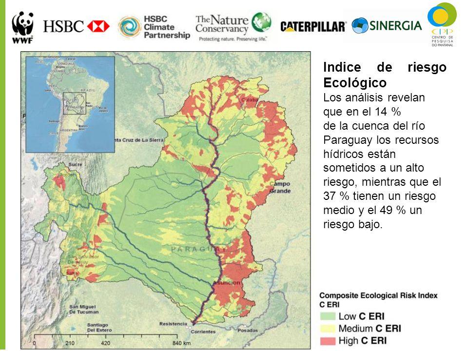 Indice de riesgo Ecológico Los análisis revelan que en el 14 % de la cuenca del río Paraguay los recursos hídricos están sometidos a un alto riesgo, m
