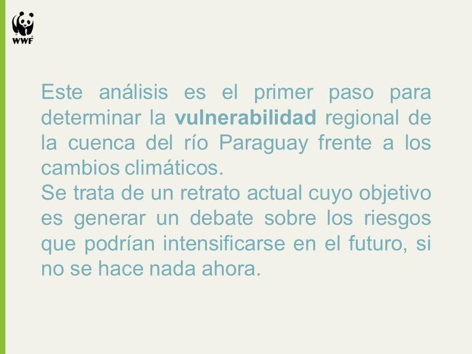 Este análisis es el primer paso para determinar la vulnerabilidad regional de la cuenca del río Paraguay frente a los cambios climáticos. Se trata de