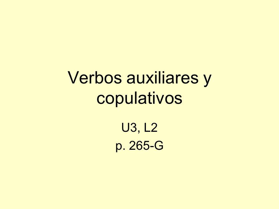 Verbos copulativos Verbos que no demuestran acción son verbos copulativos.
