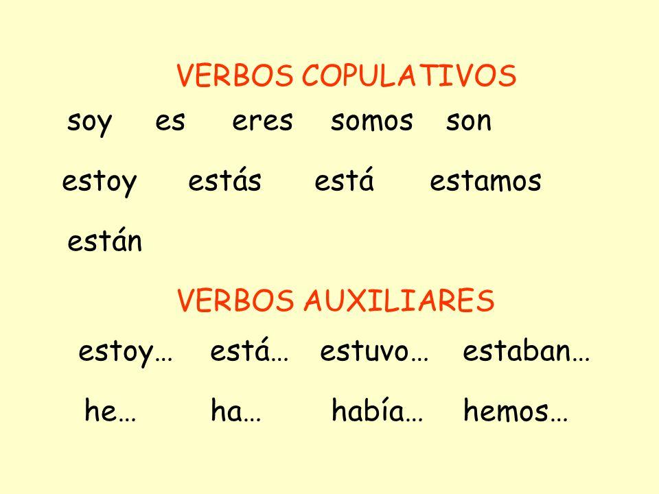 Buscan los verbos copulativos en las oraciones de abajo.