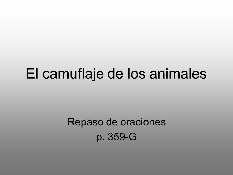 El camuflaje de los animales Repaso de oraciones p. 359-G