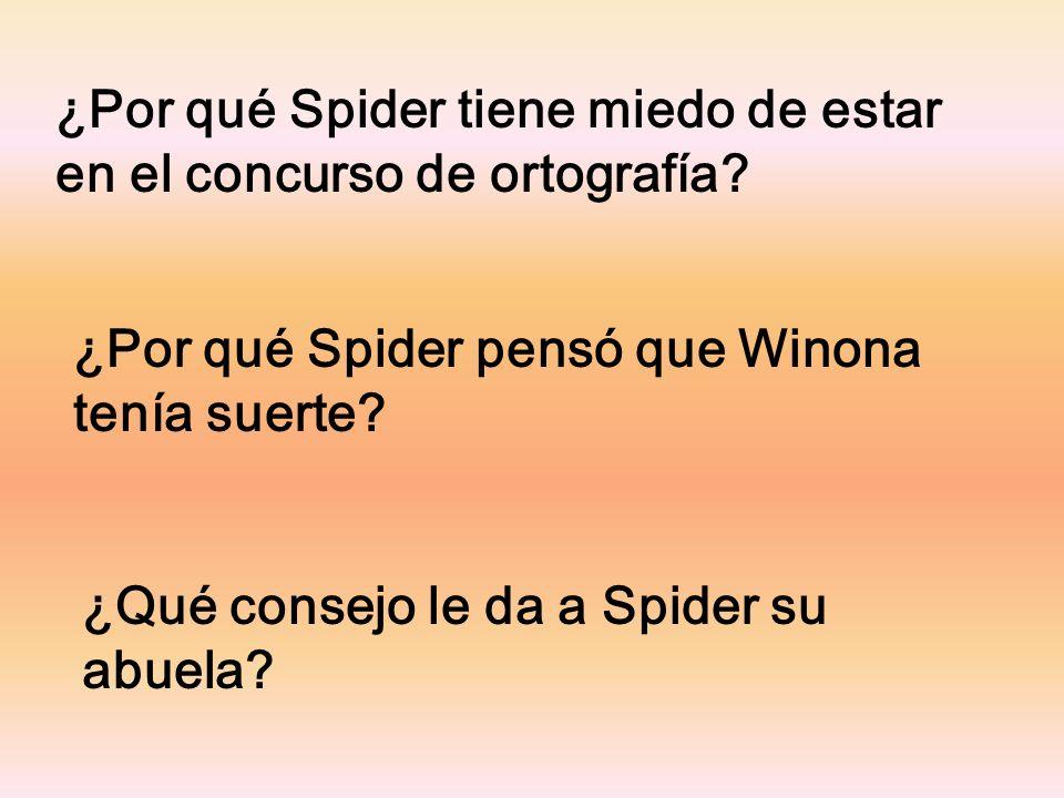 ¿Por qué Spider tiene miedo de estar en el concurso de ortografía.