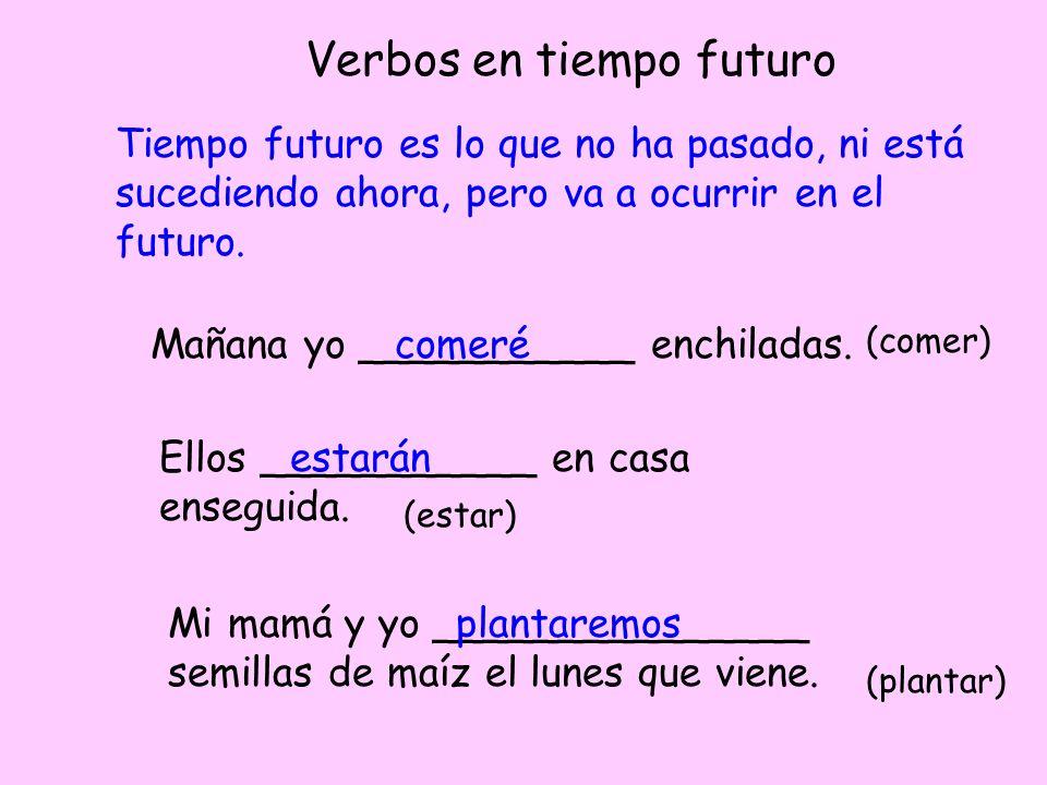 Verbos en tiempo futuro Tiempo futuro es lo que no ha pasado, ni está sucediendo ahora, pero va a ocurrir en el futuro. Mañana yo ___________ enchilad