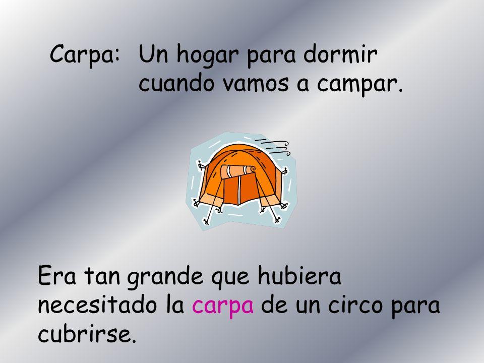 Carpa:Un hogar para dormir cuando vamos a campar. Era tan grande que hubiera necesitado la carpa de un circo para cubrirse.