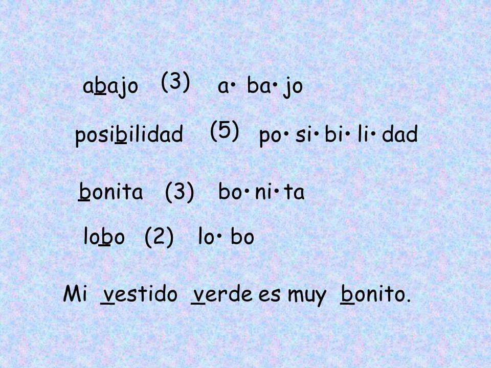 abajo posibilidad bonita lobo (3) abajo (5) posibilidad (3)bonita (2)lobo Mi _estido _erde es muy _onito. vvb