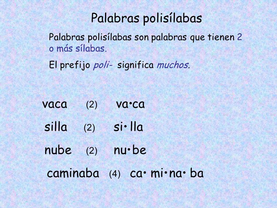 Palabras polisílabas Palabras polisílabas son palabras que tienen 2 o más sílabas. El prefijo poli- significa muchos. vaca (2) vaca silla (2) silla nu