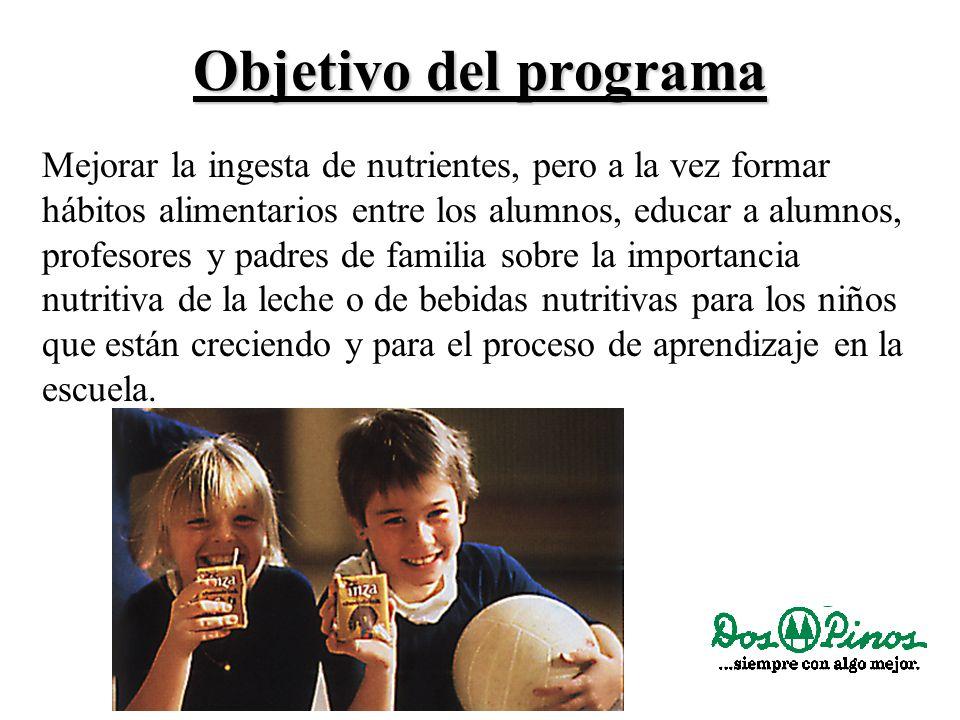 Objetivo del programa Mejorar la ingesta de nutrientes, pero a la vez formar hábitos alimentarios entre los alumnos, educar a alumnos, profesores y padres de familia sobre la importancia nutritiva de la leche o de bebidas nutritivas para los niños que están creciendo y para el proceso de aprendizaje en la escuela.
