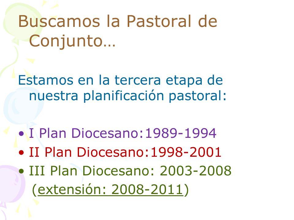 Buscamos la Pastoral de Conjunto… Estamos en la tercera etapa de nuestra planificación pastoral: I Plan Diocesano:1989-1994 II Plan Diocesano:1998-200