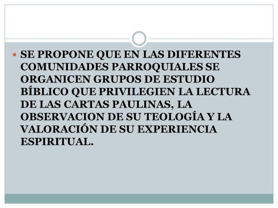 SE PROPONE QUE EN LAS DIFERENTES COMUNIDADES PARROQUIALES SE ORGANICEN GRUPOS DE ESTUDIO BÍBLICO QUE PRIVILEGIEN LA LECTURA DE LAS CARTAS PAULINAS, LA