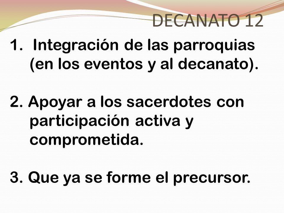 DECANATO 12 1.Integración de las parroquias (en los eventos y al decanato). 2. Apoyar a los sacerdotes con participación activa y comprometida. 3. Que