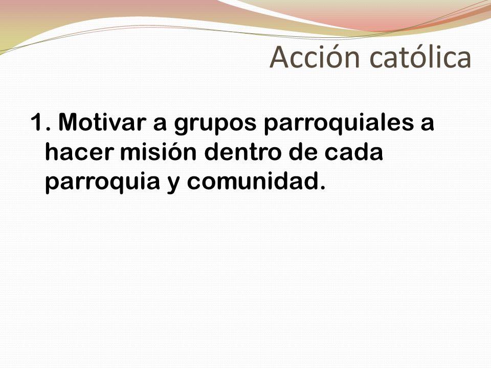 Acción católica 1. Motivar a grupos parroquiales a hacer misión dentro de cada parroquia y comunidad.
