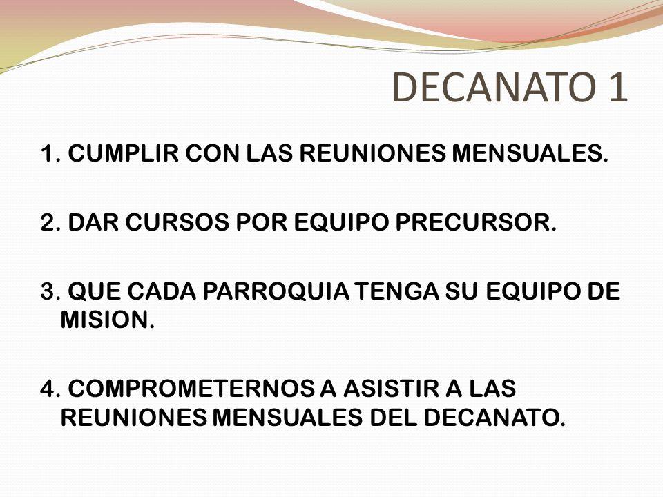 DECANATO 1 1. CUMPLIR CON LAS REUNIONES MENSUALES. 2. DAR CURSOS POR EQUIPO PRECURSOR. 3. QUE CADA PARROQUIA TENGA SU EQUIPO DE MISION. 4. COMPROMETER