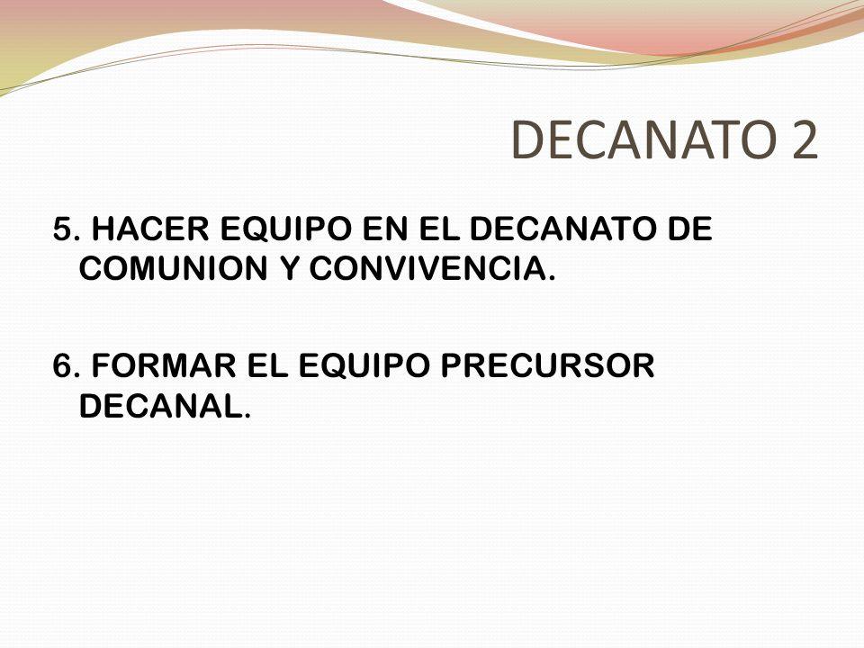 DECANATO 2 5. HACER EQUIPO EN EL DECANATO DE COMUNION Y CONVIVENCIA. 6. FORMAR EL EQUIPO PRECURSOR DECANAL.
