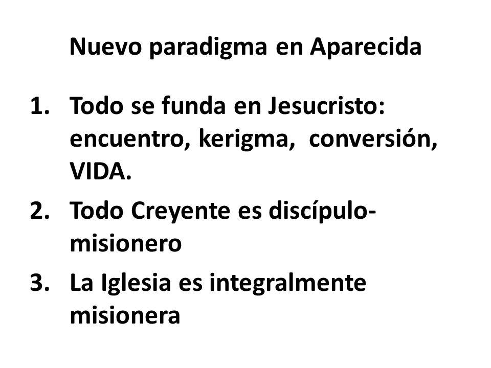 Nuevo paradigma en Aparecida 1.Todo se funda en Jesucristo: encuentro, kerigma, conversión, VIDA. 2.Todo Creyente es discípulo- misionero 3.La Iglesia