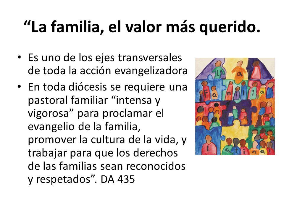 La familia, el valor más querido. Es uno de los ejes transversales de toda la acción evangelizadora En toda diócesis se requiere una pastoral familiar
