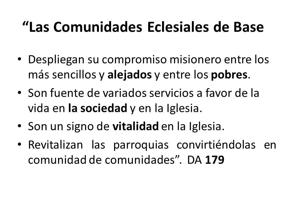 Las Comunidades Eclesiales de Base Despliegan su compromiso misionero entre los más sencillos y alejados y entre los pobres. Son fuente de variados se