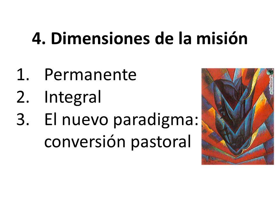 4. Dimensiones de la misión 1.Permanente 2.Integral 3.El nuevo paradigma: conversión pastoral