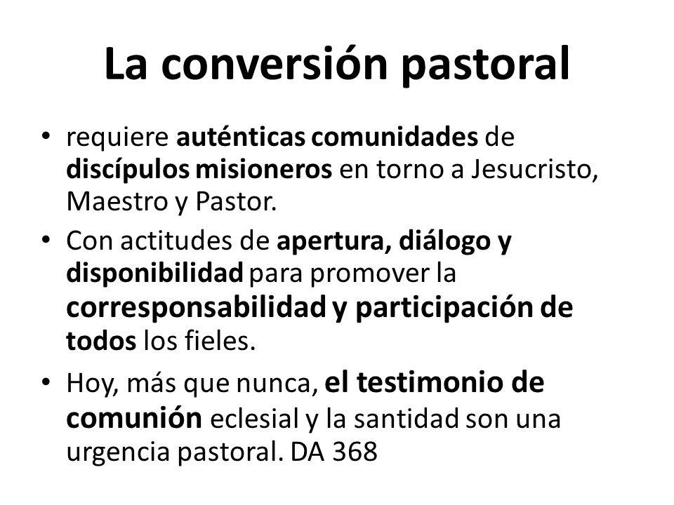 La conversión pastoral requiere auténticas comunidades de discípulos misioneros en torno a Jesucristo, Maestro y Pastor. Con actitudes de apertura, di
