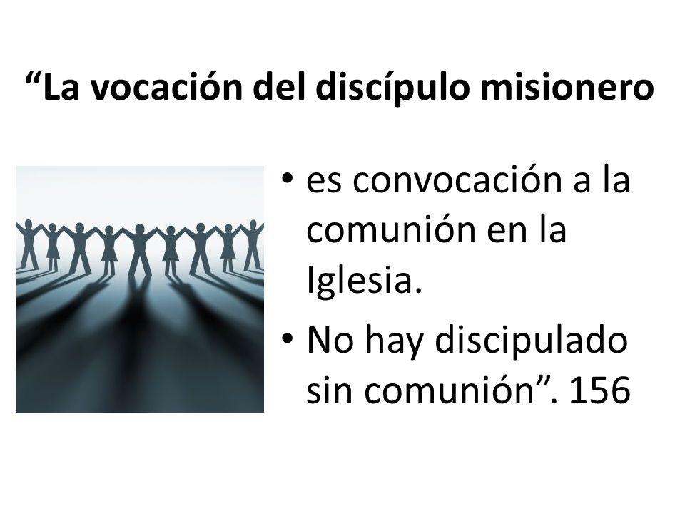 La vocación del discípulo misionero es convocación a la comunión en la Iglesia. No hay discipulado sin comunión. 156