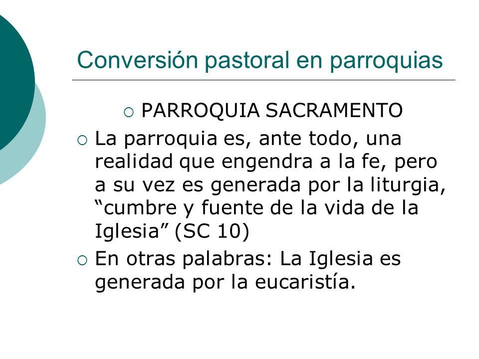 Conversión pastoral en parroquias PARROQUIA SACRAMENTO La parroquia es, ante todo, una realidad que engendra a la fe, pero a su vez es generada por la