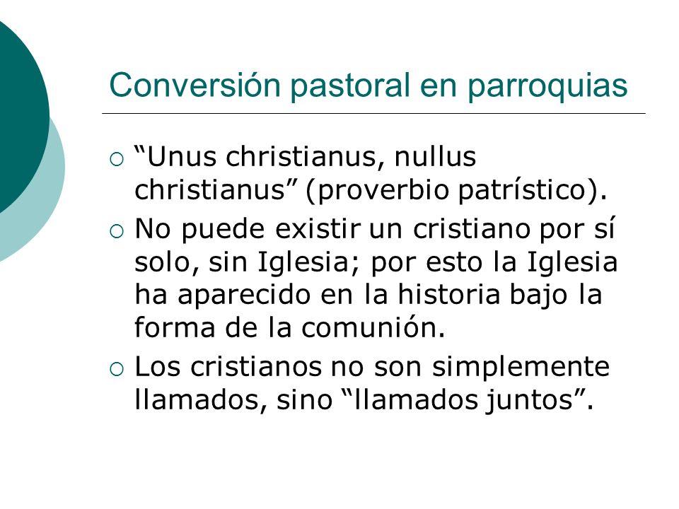 Conversión pastoral en parroquias Unus christianus, nullus christianus (proverbio patrístico). No puede existir un cristiano por sí solo, sin Iglesia;
