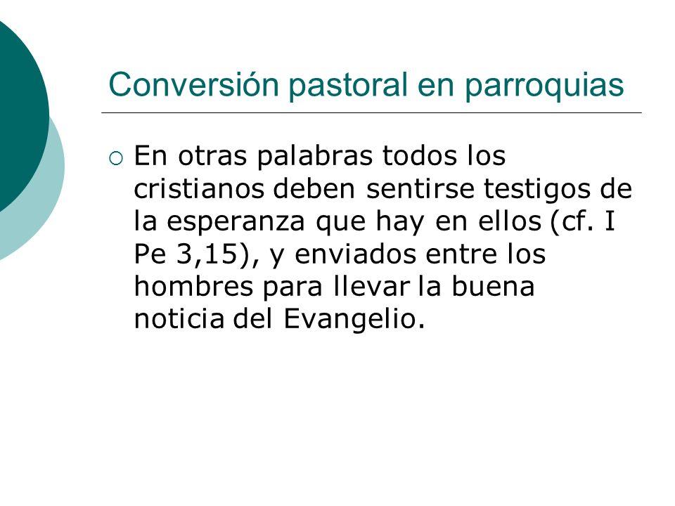Conversión pastoral en parroquias En otras palabras todos los cristianos deben sentirse testigos de la esperanza que hay en ellos (cf. I Pe 3,15), y e