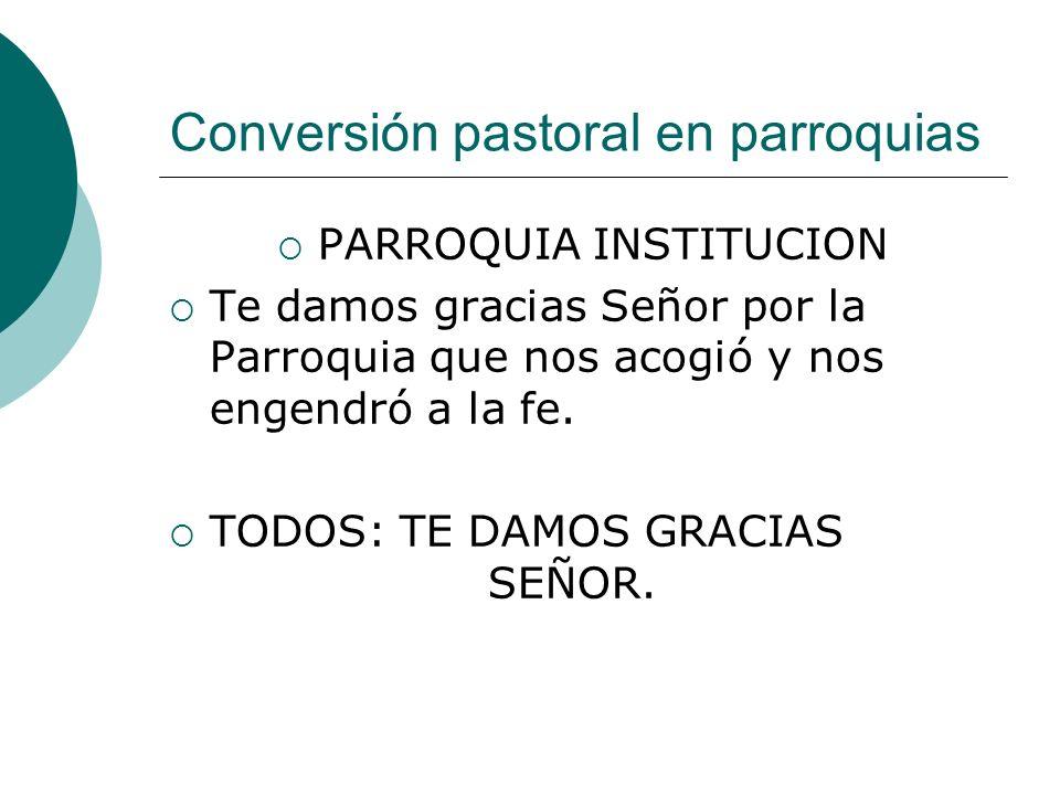Conversión pastoral en parroquias PARROQUIA INSTITUCION Te damos gracias Señor por la Parroquia que nos acogió y nos engendró a la fe. TODOS: TE DAMOS