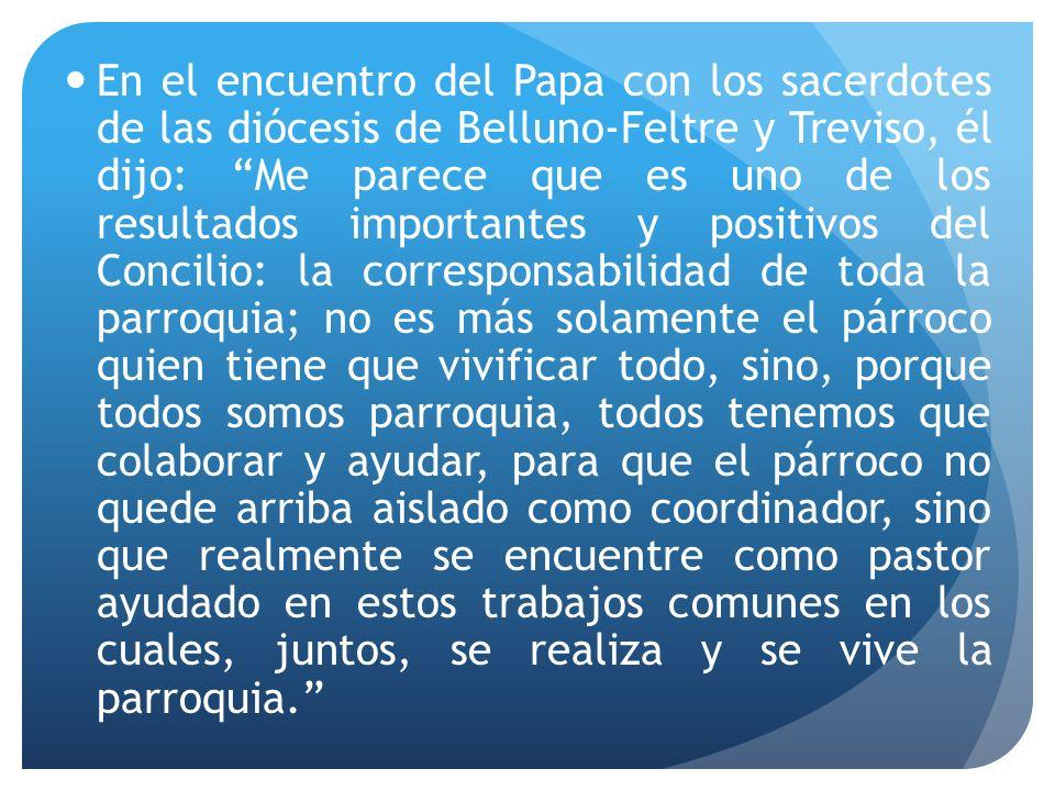 En el encuentro del Papa con los sacerdotes de las diócesis de Belluno-Feltre y Treviso, él dijo: Me parece que es uno de los resultados importantes y