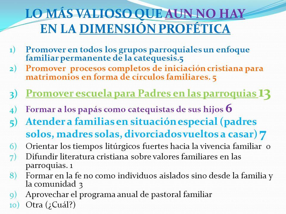 1) Promover en todos los grupos parroquiales un enfoque familiar permanente de la catequesis.5 2) Promover procesos completos de iniciación cristiana para matrimonios en forma de círculos familiares.