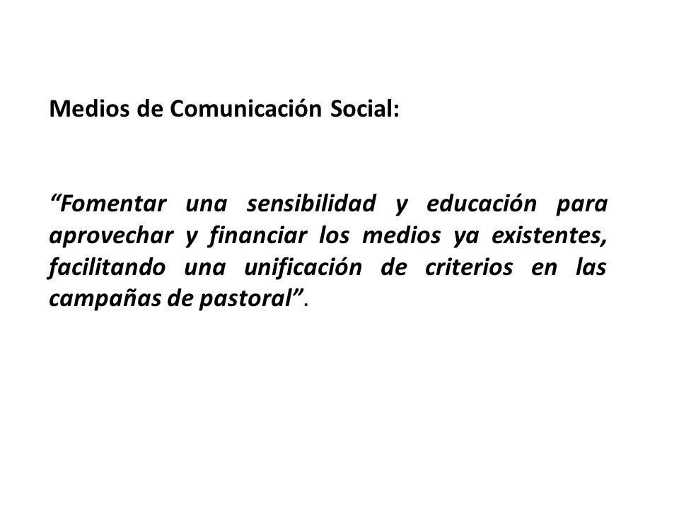 Medios de Comunicación Social: Fomentar una sensibilidad y educación para aprovechar y financiar los medios ya existentes, facilitando una unificación