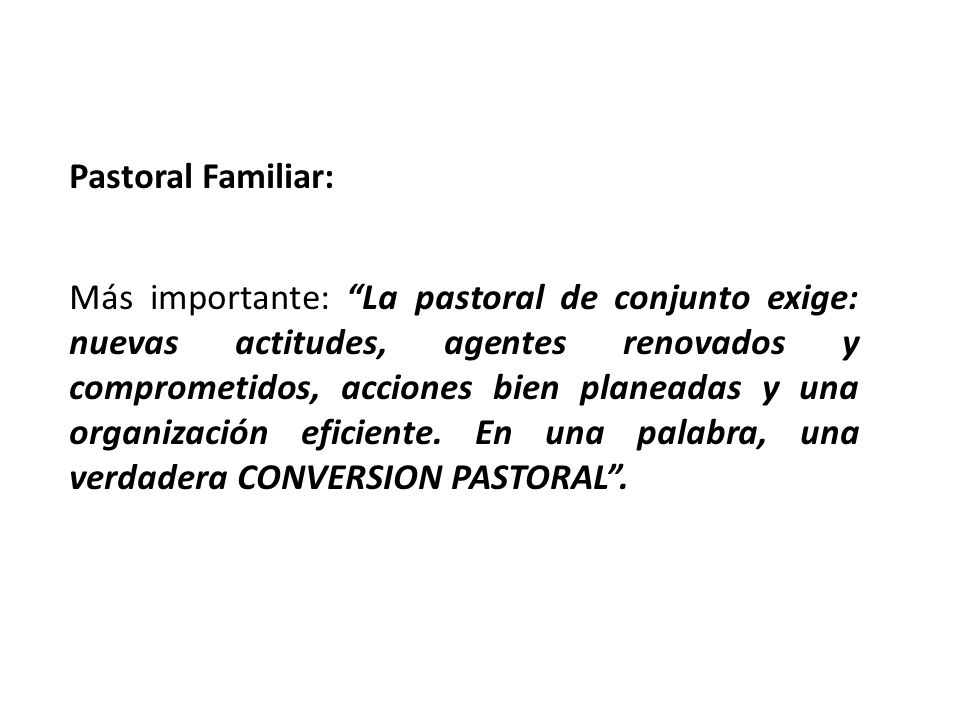 Pastoral Familiar: Más importante: La pastoral de conjunto exige: nuevas actitudes, agentes renovados y comprometidos, acciones bien planeadas y una o
