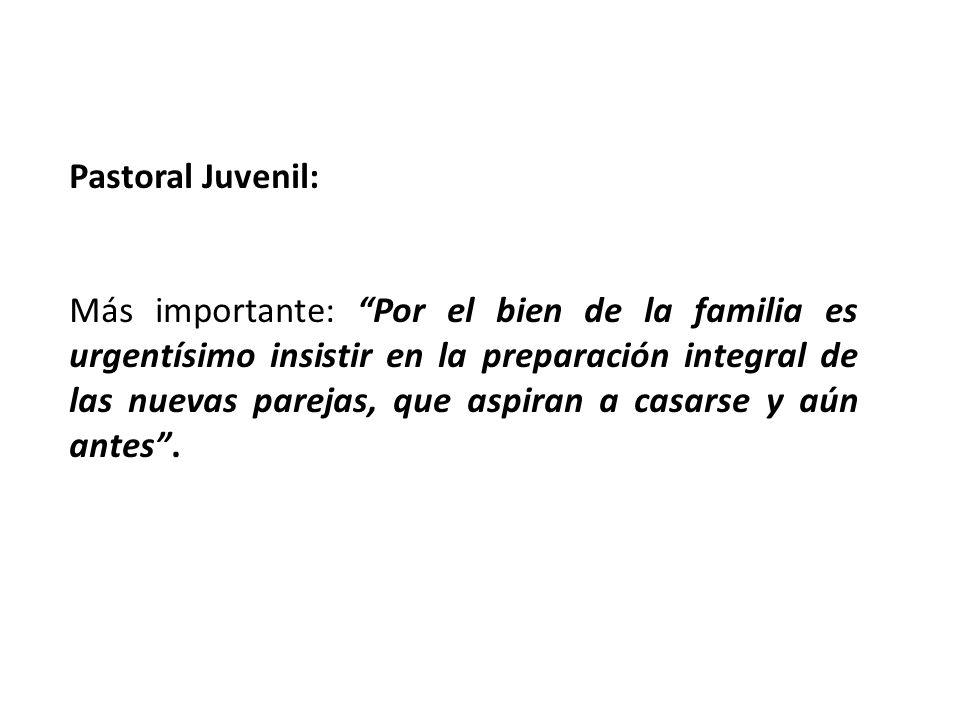 Pastoral Juvenil: Más importante: Por el bien de la familia es urgentísimo insistir en la preparación integral de las nuevas parejas, que aspiran a ca