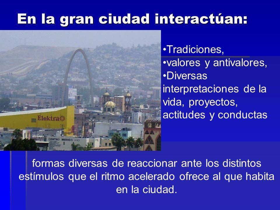 En la gran ciudad interactúan: Tradiciones, valores y antivalores, Diversas interpretaciones de la vida, proyectos, actitudes y conductas formas diver