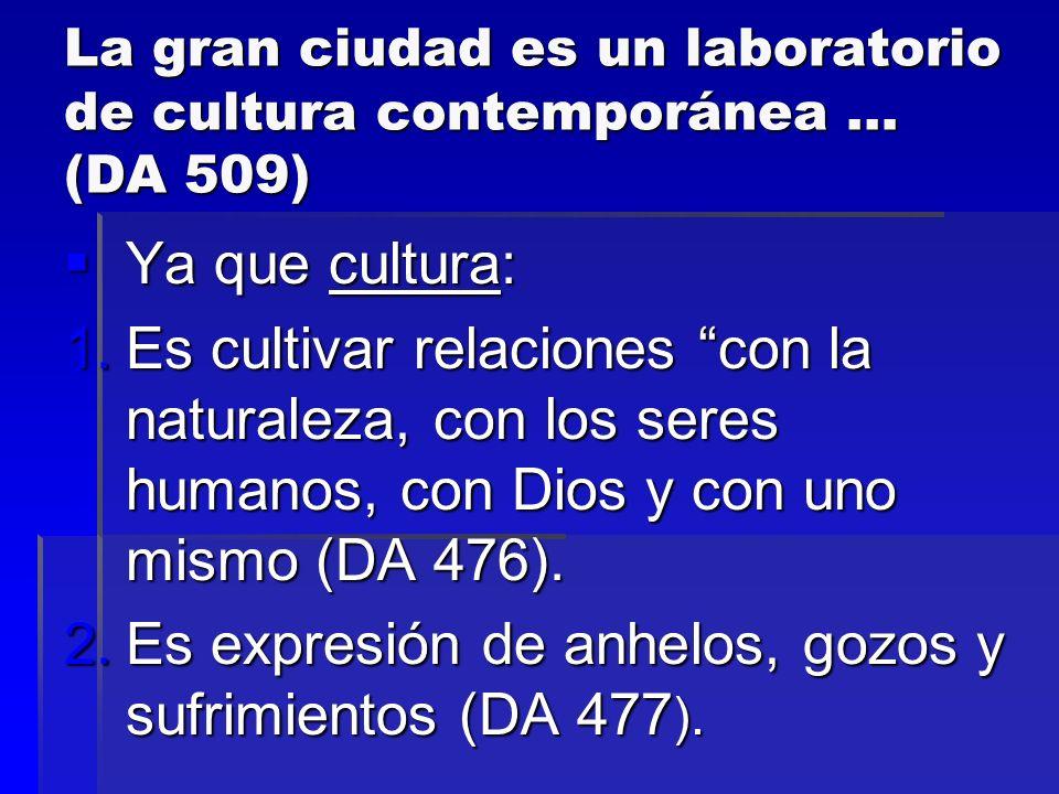 La gran ciudad es un laboratorio de cultura contemporánea … (DA 509) Ya que cultura: Ya que cultura: 1.Es cultivar relaciones con la naturaleza, con l
