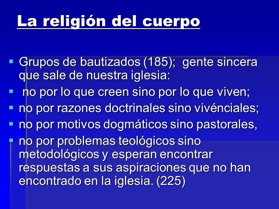 La religión del cuerpo Grupos de bautizados (185); gente sincera que sale de nuestra iglesia: Grupos de bautizados (185); gente sincera que sale de nu