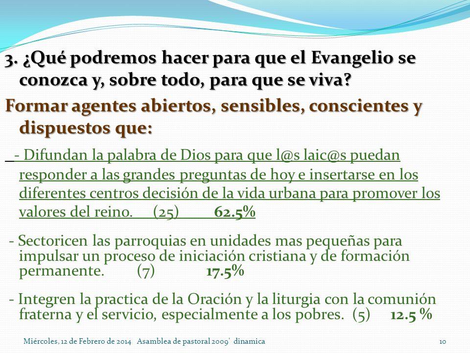 Miércoles, 12 de Febrero de 2014 Asamblea de pastoral 2009 dinamica 10 3.