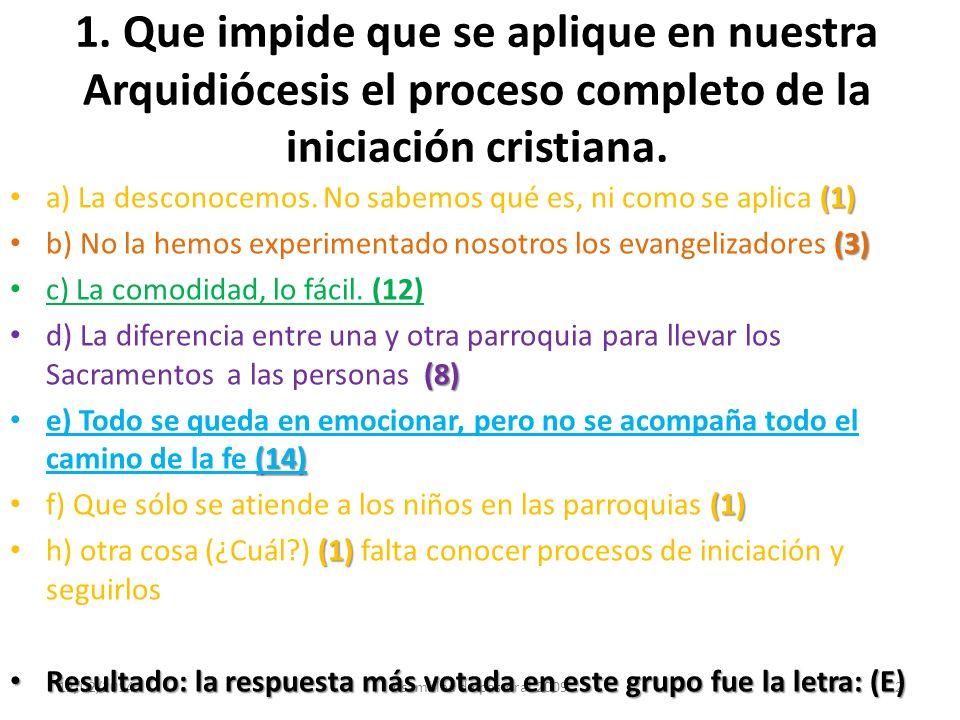 12/02/2014Asamblea de pastoral 20092 1. Que impide que se aplique en nuestra Arquidiócesis el proceso completo de la iniciación cristiana. (1) a) La d