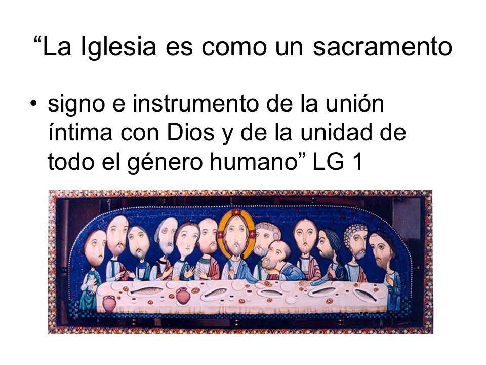 La Iglesia es como un sacramento signo e instrumento de la unión íntima con Dios y de la unidad de todo el género humano LG 1