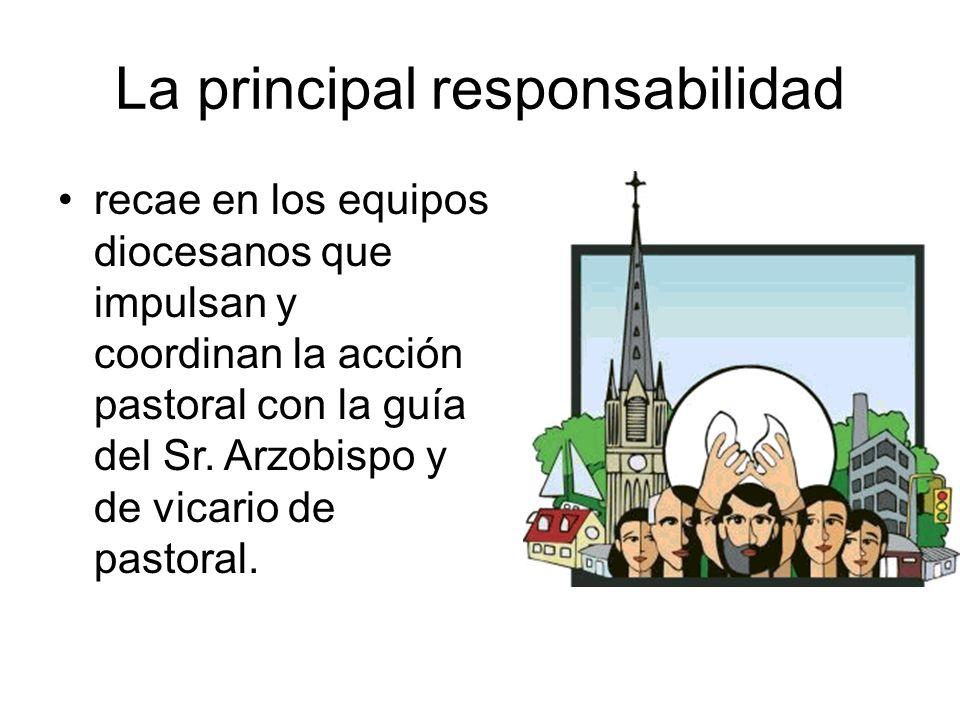 La principal responsabilidad recae en los equipos diocesanos que impulsan y coordinan la acción pastoral con la guía del Sr. Arzobispo y de vicario de
