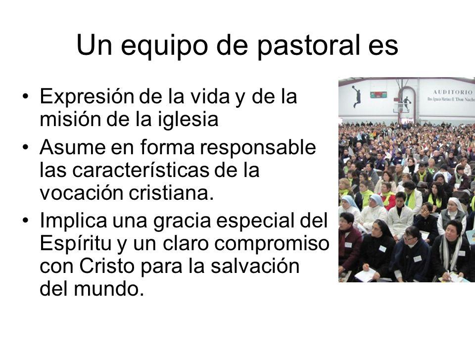 Un equipo de pastoral es Expresión de la vida y de la misión de la iglesia Asume en forma responsable las características de la vocación cristiana. Im