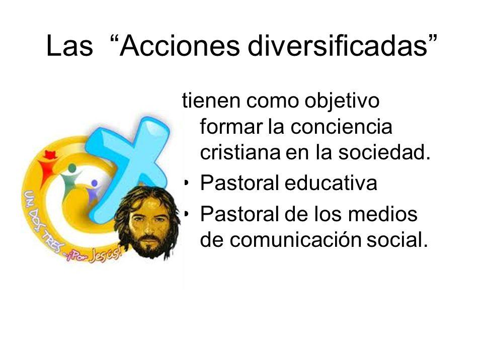 Las Acciones diversificadas tienen como objetivo formar la conciencia cristiana en la sociedad. Pastoral educativa Pastoral de los medios de comunicac