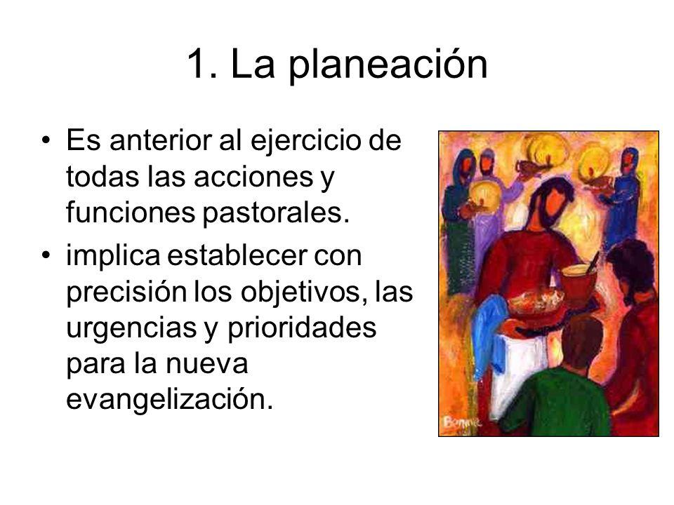 1. La planeación Es anterior al ejercicio de todas las acciones y funciones pastorales. implica establecer con precisión los objetivos, las urgencias