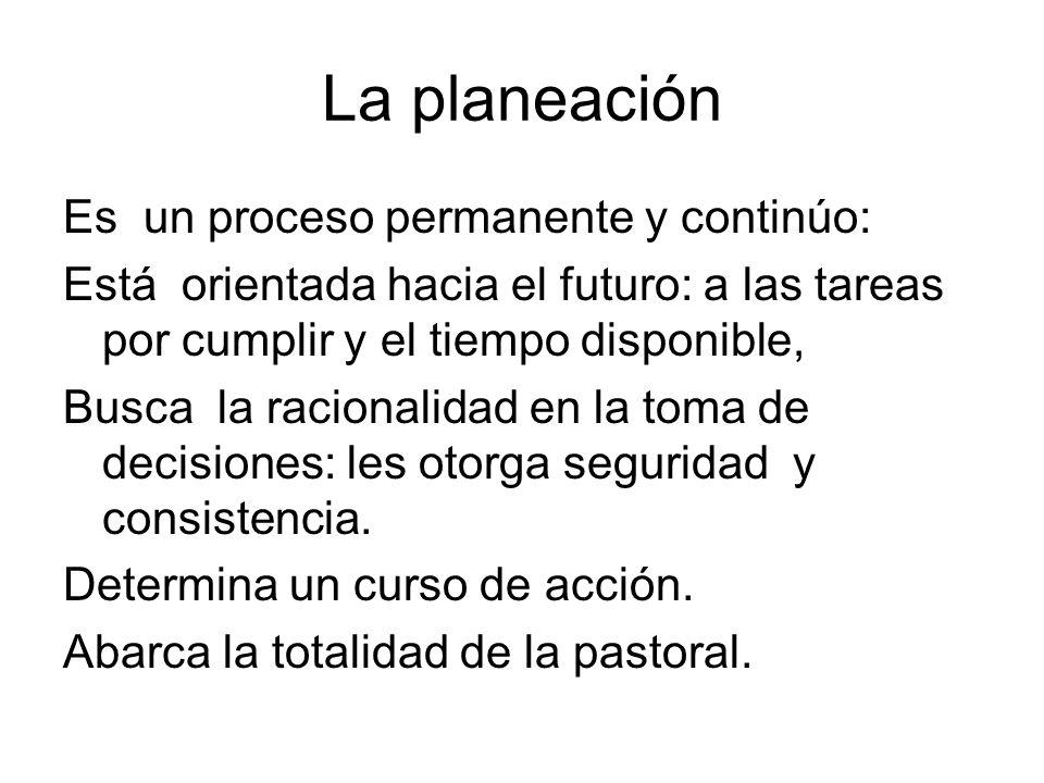 La planeación Es un proceso permanente y continúo: Está orientada hacia el futuro: a las tareas por cumplir y el tiempo disponible, Busca la racionali