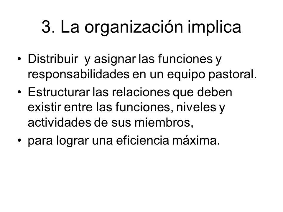 3. La organización implica Distribuir y asignar las funciones y responsabilidades en un equipo pastoral. Estructurar las relaciones que deben existir