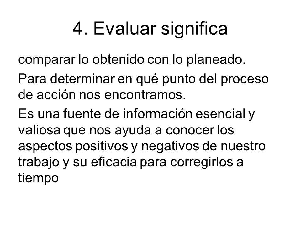 4. Evaluar significa comparar lo obtenido con lo planeado. Para determinar en qué punto del proceso de acción nos encontramos. Es una fuente de inform