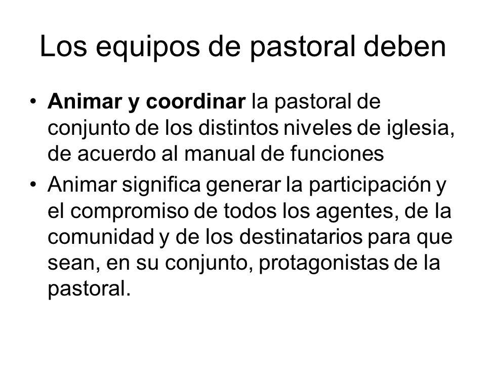 Los equipos de pastoral deben Animar y coordinar la pastoral de conjunto de los distintos niveles de iglesia, de acuerdo al manual de funciones Animar
