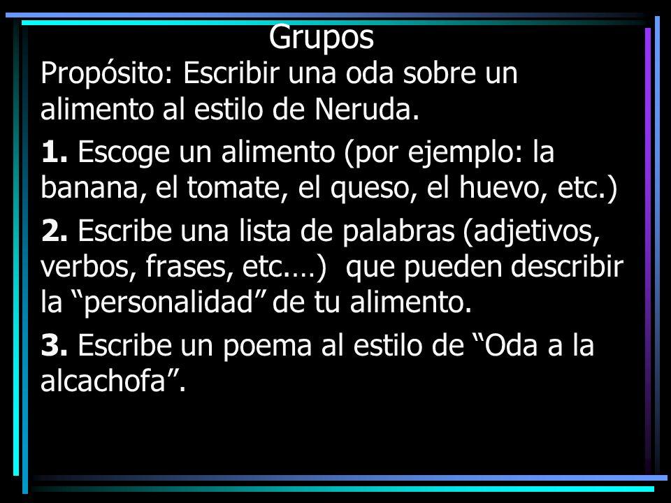 Grupos Propósito: Escribir una oda sobre un alimento al estilo de Neruda. 1. Escoge un alimento (por ejemplo: la banana, el tomate, el queso, el huevo